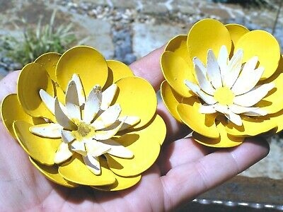 TWO Large metal Yellow buttercup flowers for accents and embellishments