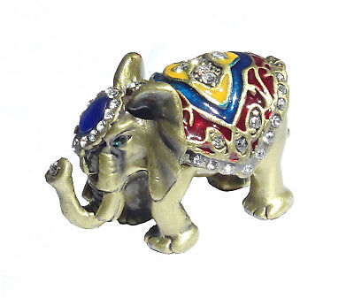 Elephant - Metal brass with enamel rhinestones hidden compartment     -     ME01