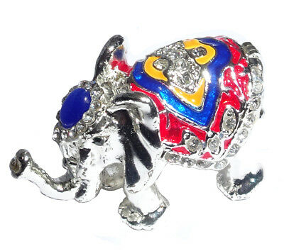 Elephant   Metal silver-colored with enamel rhinestones hidden compartment  ME05