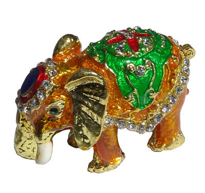 Elephant   Metal gold-colored with enamel rhinestones hidden compartment    ME07