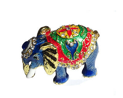 Elephant   Metal gold-colored with enamel rhinestones hidden compartment    ME14