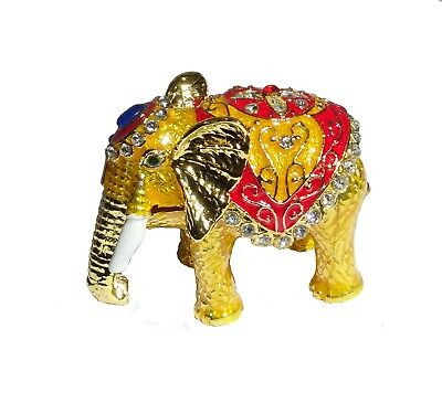 Elephant   Metal gold-colored with enamel rhinestones hidden compartment    ME21
