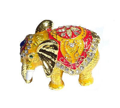 Elephant   Metal gold-colored with enamel rhinestones hidden compartment    ME22