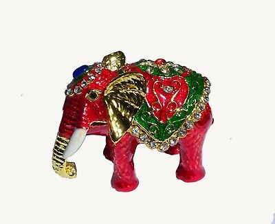 Elephant   Metal red-colored with enamel rhinestones hidden compartment     ME23