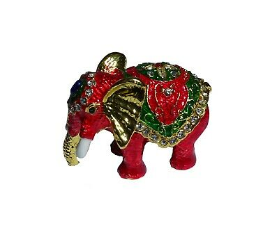 Elephant   Metal red-colored with enamel rhinestones hidden compartment     ME24