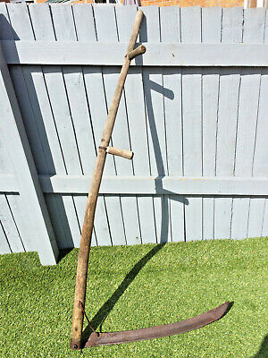 "Old Ash Handle Vintage Hand Held Grass Corn Cutting Scythe 62"" Long"
