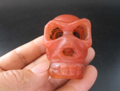 Ancient China Hongshan Culture Old Red Crystal Carved Human Skull Pendant A1009