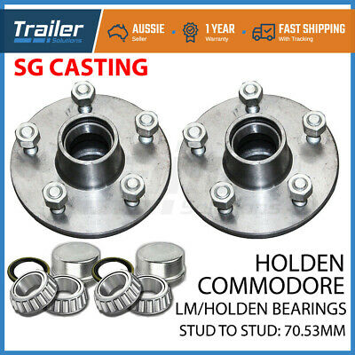 2 x Trailer Hubs Commodore 5 Stud Wheel Lazy Hub Holden LM Bearings Kits