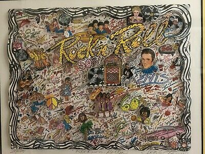 """Framed Ltd Edition Signed Cut-Out """"Rockin n Rollin"""" Collage by Charles Fazzino"""