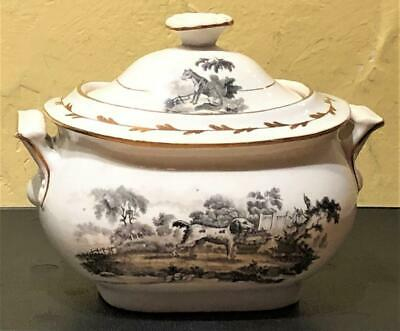 Antique English Porcelain Black Transfer & Gilt Sugar Bowl, Dog & Swan, c. 1815