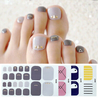 Toenail Stickers Geometric Waterproof Nail Wraps Full Cover Mixed Toe Nail Art