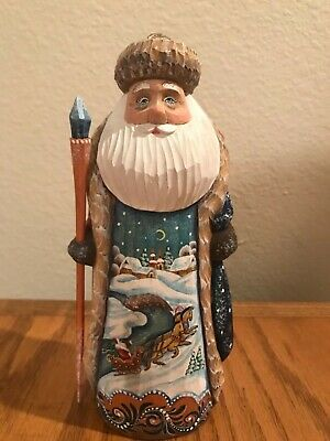 "Russian Hand Carved Santa "" TROIKA"" Beautiful Christmas Piece Christmas gift"