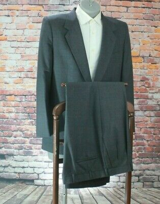 "Halston Men's Charcoal Windowpane Wool 2 Btn Suit 42R Pleated Fronts 38"" Waist"