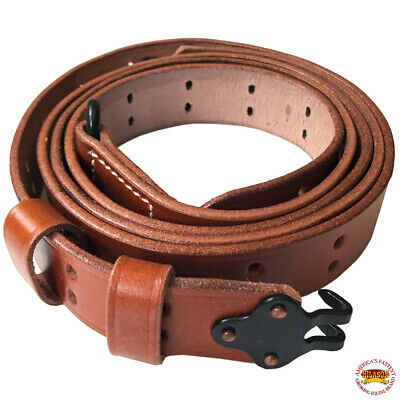 WWII US M1 Garand Rifle M1907 Leather Carry Sling American Mahogany