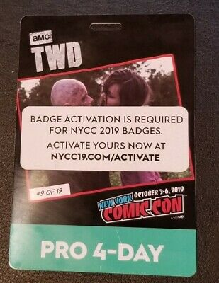New York Comic Con NYCC 2019 4 Day Pro Pass Ticket Badge Activated Fan Verified