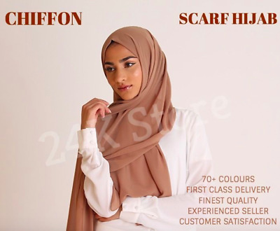NEW CHIFFON SCARF HIJAB Soft High Quality Sarong Shawl Maxi Plain Wrap Georgette