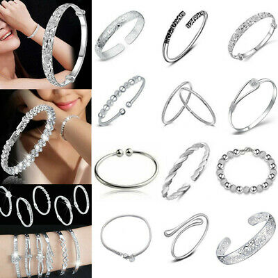 Women Jewelry Bangle Chain Bracelet 925 Sterling Solid Silver Crystal Cuff Charm