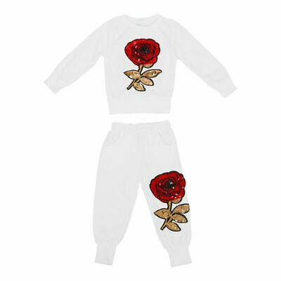 Girl's Clothing Sets Spring Autumn Sportswear Long Sleeve Rose Floral Embro K4W7