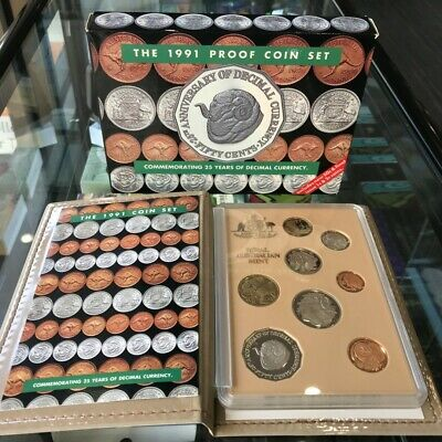 1991 25 Years Decimal Currency RAM Eight Coin Proof Set Case/Certificate