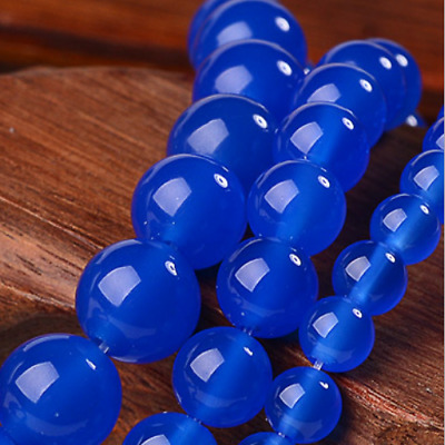 """Details about 6mm 8mm 10mm Blue Sapphire Gemstone Round Loose Beads 15"""" AAA+"""