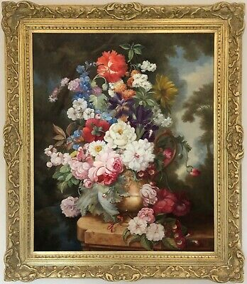 Still Life with Flowers Antique Oil Painting Early 20th Century Dutch School