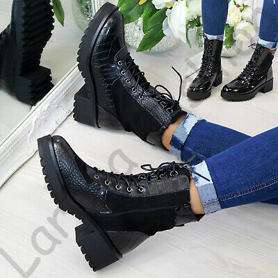 New Womens Biker Ankle Boots Lace Up Mid Heel Side Zip High Top Shoes Sizes 3-8