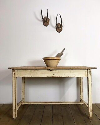 Lovely Antique French Original Painted Country Farmhouse Kitchen Dining Table