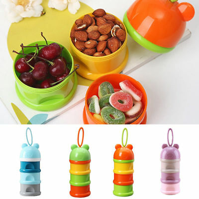 Baby Feeding Food 3 Layer Container Pot Powder Formula Dispenser Boxes Portable