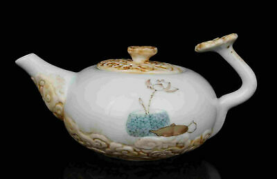China Collection Hand-Carved Xiangyun Paintings Jingdezhen Porcelain Teapot
