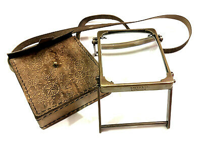 Antique Brass Magnifying Glass Vintage Style Table Top Magnifier in Leather Case