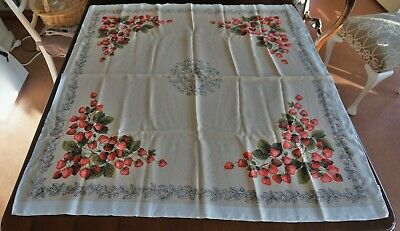 Vintage Supper Cloth Tablecloth Strawberries 113 x 109cm Excellent