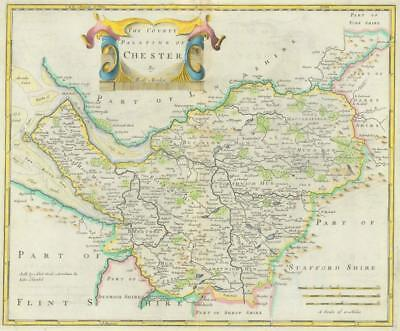 1722 Original Antique Map - CHESHIRE CHESTER by Robert Morden HAND COLOUR
