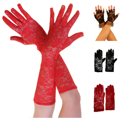 LADIES BLACK RED WHITE LACE FINGERLESS GLOVES FANCY DRESS HALLOWEEN BULK JOB LOT