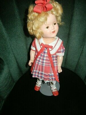 "1930s IDEAL 16"" SHIRLEY TEMPLE DOLL COMPOSITION  Vintage Outfit Stand Included"