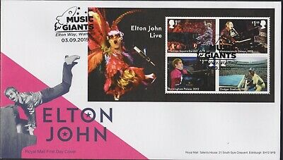 2019 - Elton John MS FDC - Music Giants Elton Way, Watford Pmk - Post Free