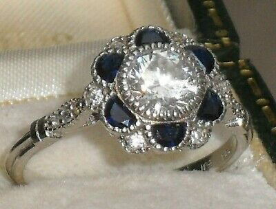 "A Pretty Art Deco Antique ""Style"" Sapphire & White Paste Daisy Cluster Halo Ring"