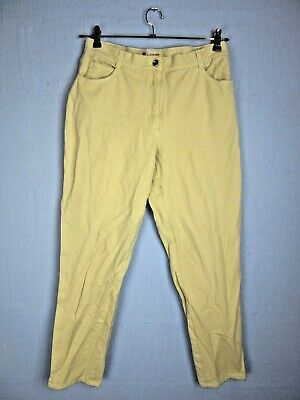 """VINTAGE RETRO BEIGE STRETCHY TAPERED JEANS HIGH WAISTED U.K14 w32"""" L30"""" wt1"""