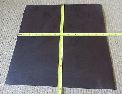 """DARK BROWN COW HIDE LEATHER OFF CUT 14.5"""" X13.5""""(37X 34cm)  4mmTHICK  CLEARANCE"""