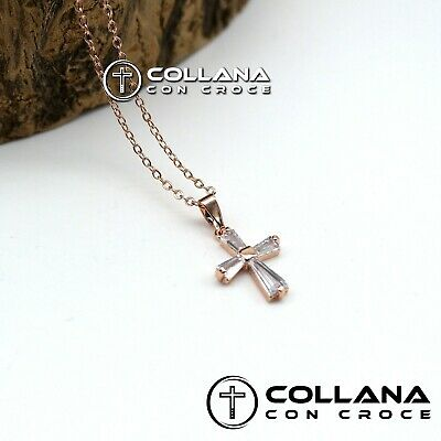 Collana con catena Gold ciondolo Croce Collanina da Donna Crocifisso pendente