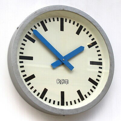 EAST GERMAN1970s Midcentury Factory Retro Vintage Industrial Wall Clock. Dated.