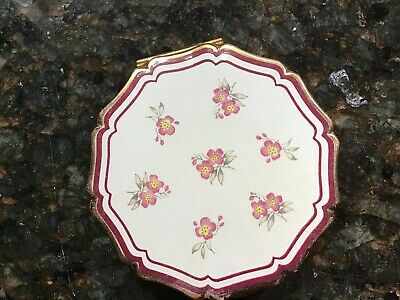 VINTAGE STRATTON ENGLAND POWDER COMPACT, Enameled Flowers, W/ Powder And Screen
