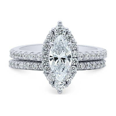 BERRICLE Sterling Silver Marquise Cut CZ Halo Engagement Wedding Ring Set