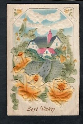 C164 postcard Novelty heavily embossed home with yellow roses great detail