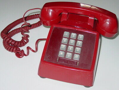 Bell System Western Electric Dark Red Telephone Push Button Desk Working 2500DM
