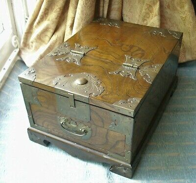 Old Antique Chinese Hardwood Brass Mounted Wooden Travel Cosmetic Jewelry Box