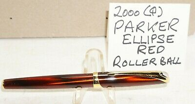 2000 (Q) Parker Ellipse Rollerball Pen ..metallic RED /gold trim MADE IN FRANCE