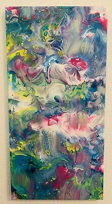 Abstract original acrylic painting canvas fluid art 16x20 Easter Floral Colorful