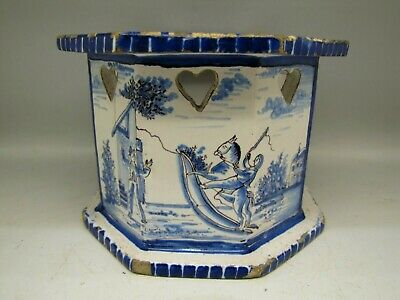 ANTIQUE DELFT POTTERY TEAPOT WARMER STAND 17th CENTURY FAIENCE ROCKING HORSE