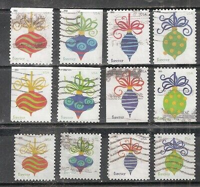 HOLIDAY BAUBLES #4571-4582 Used Forever U.S. 2011 Stamp Set of 12 stamps