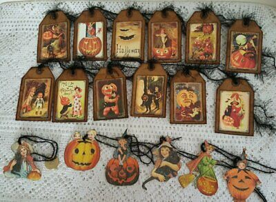 18~Halloween~Primitive~Vintage~Baked~Fussy Cut~Gift~Hang~Tags~Ornaments